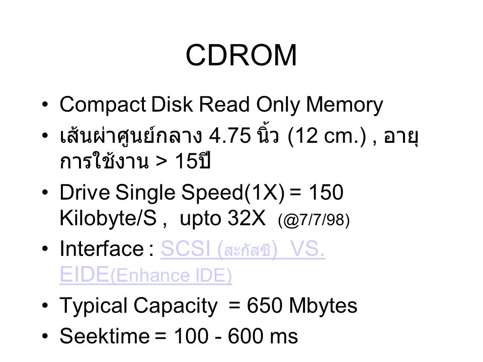CDROM Compact Disk Read Only Memory