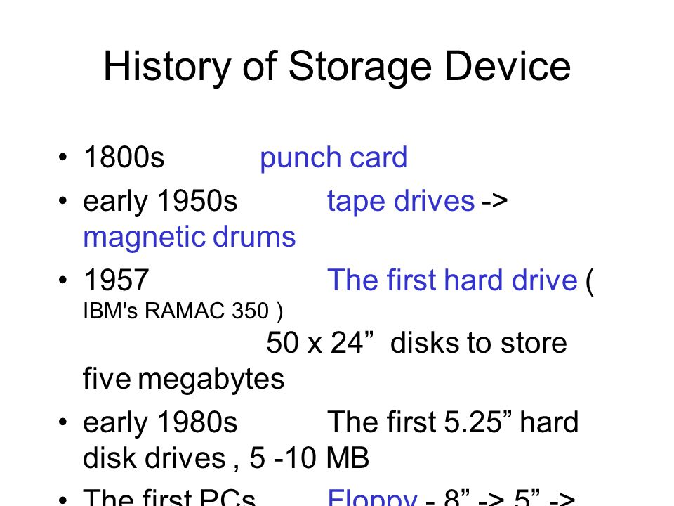 History of Storage Device