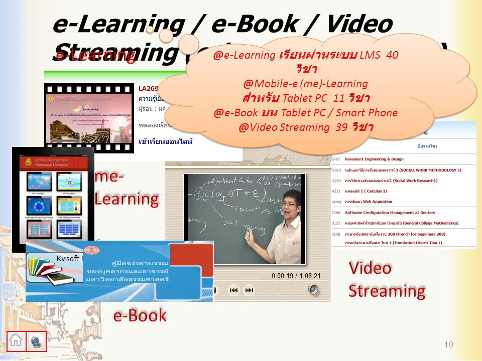 e-Learning / e-Book / Video Streaming (e-learning.tu.ac.th/)