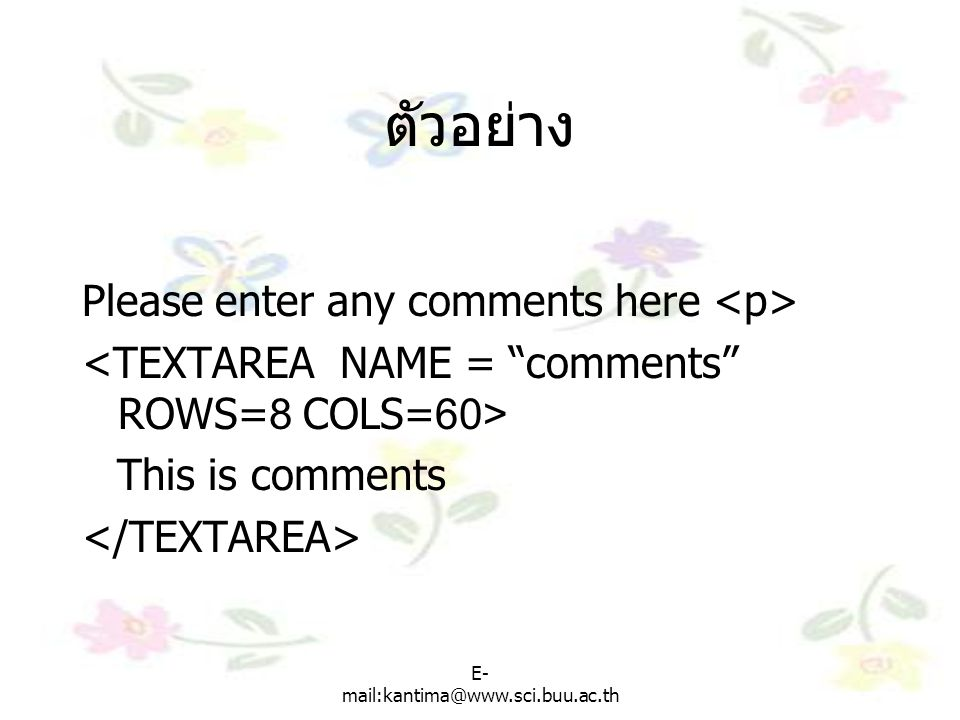 ตัวอย่าง Please enter any comments here <p>