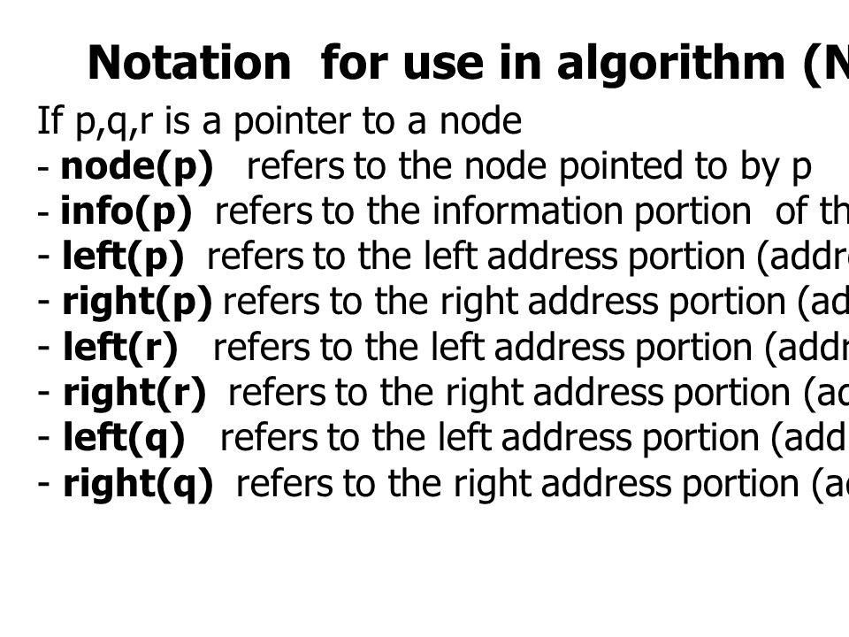 Notation for use in algorithm (Not in program)