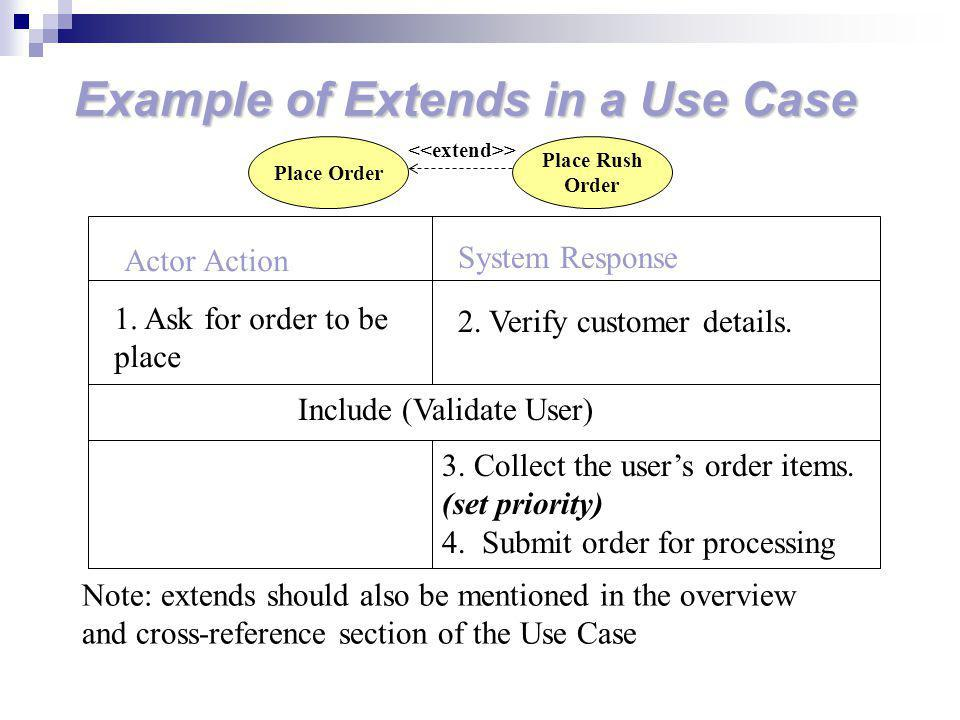 Example of Extends in a Use Case