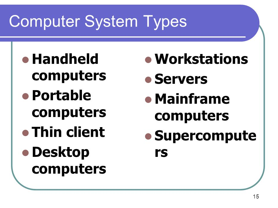 Computer System Types Handheld computers Portable computers