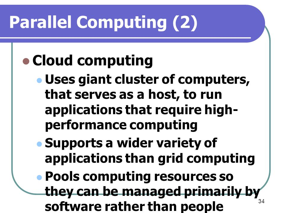 Parallel Computing (2) Cloud computing