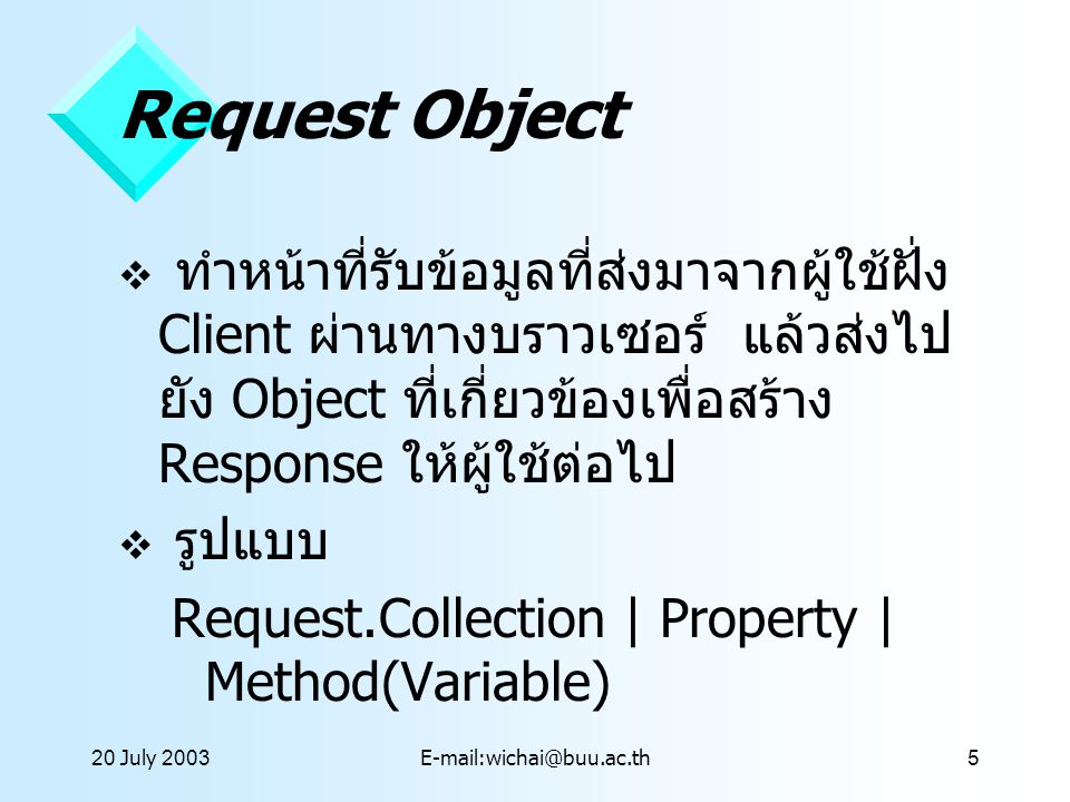 20 July 2001 Request Object.
