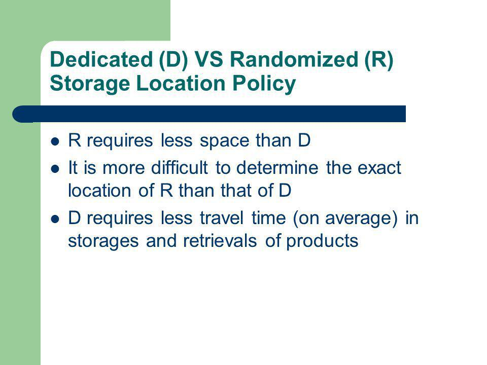 Dedicated (D) VS Randomized (R) Storage Location Policy
