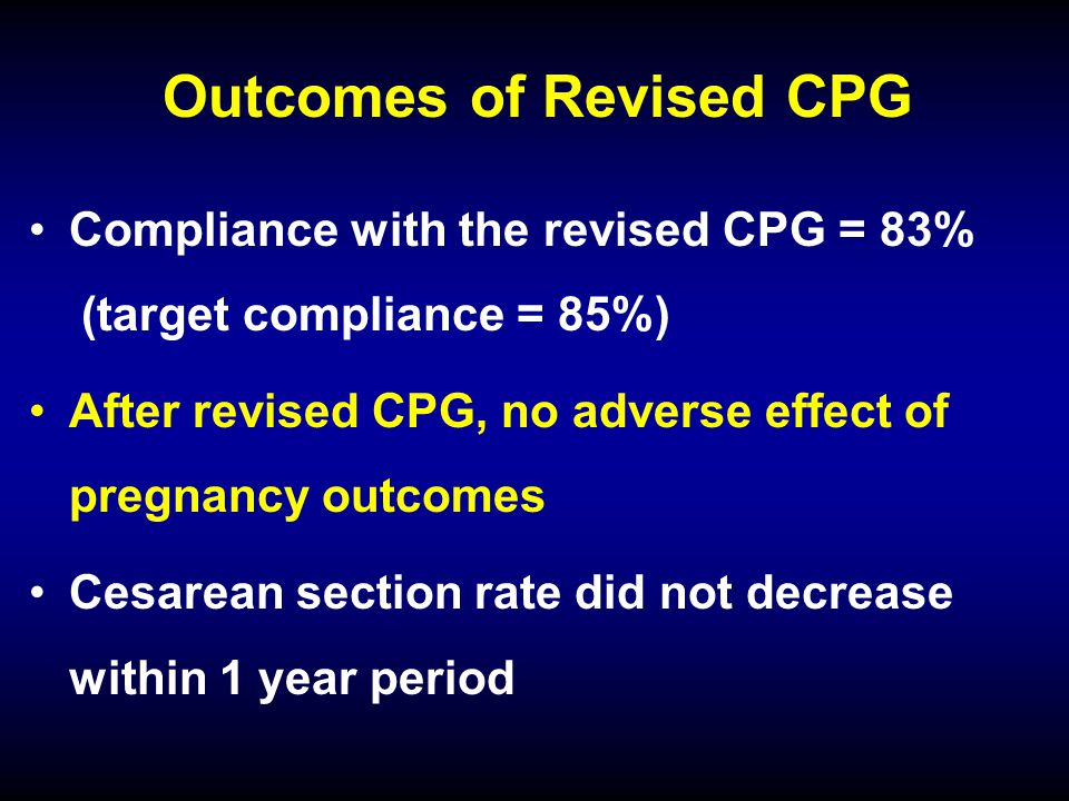 Outcomes of Revised CPG