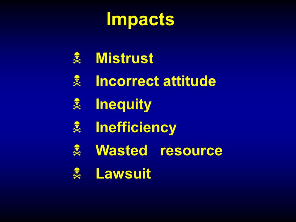 Impacts Mistrust Incorrect attitude Inequity Inefficiency