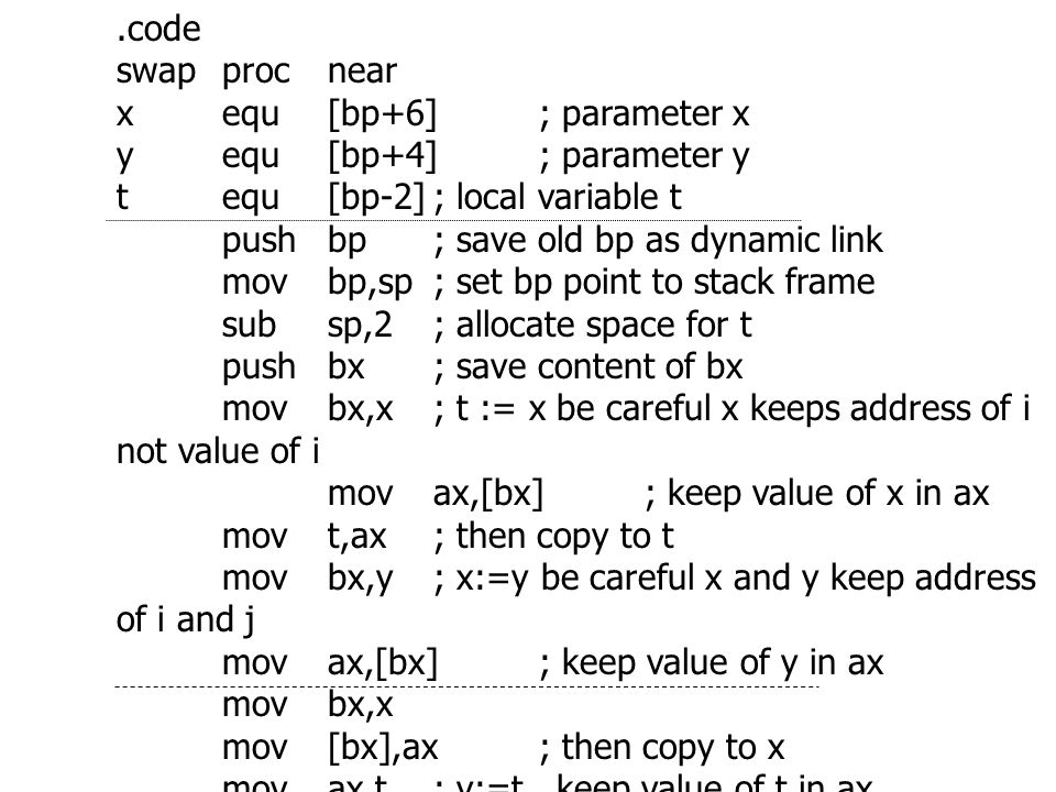 .code swap proc near. x equ [bp+6] ; parameter x. y equ [bp+4] ; parameter y. t equ [bp-2] ; local variable t.