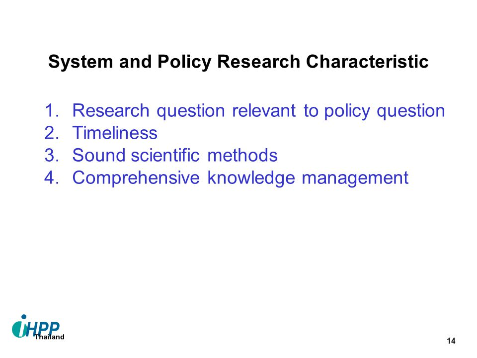 System and Policy Research Characteristic