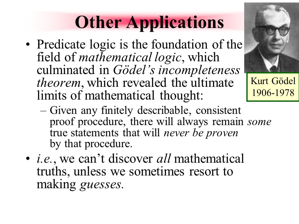 Kurt Gödel 1906-1978 Other Applications.