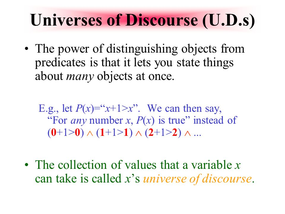 Universes of Discourse (U.D.s)