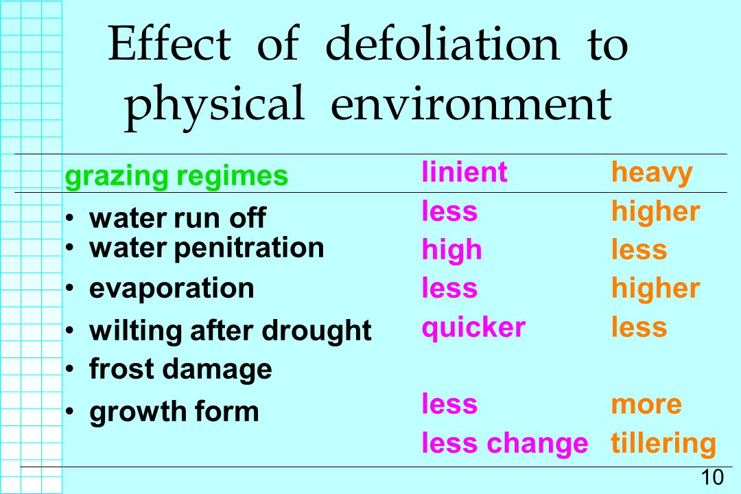 Effect of defoliation to physical environment