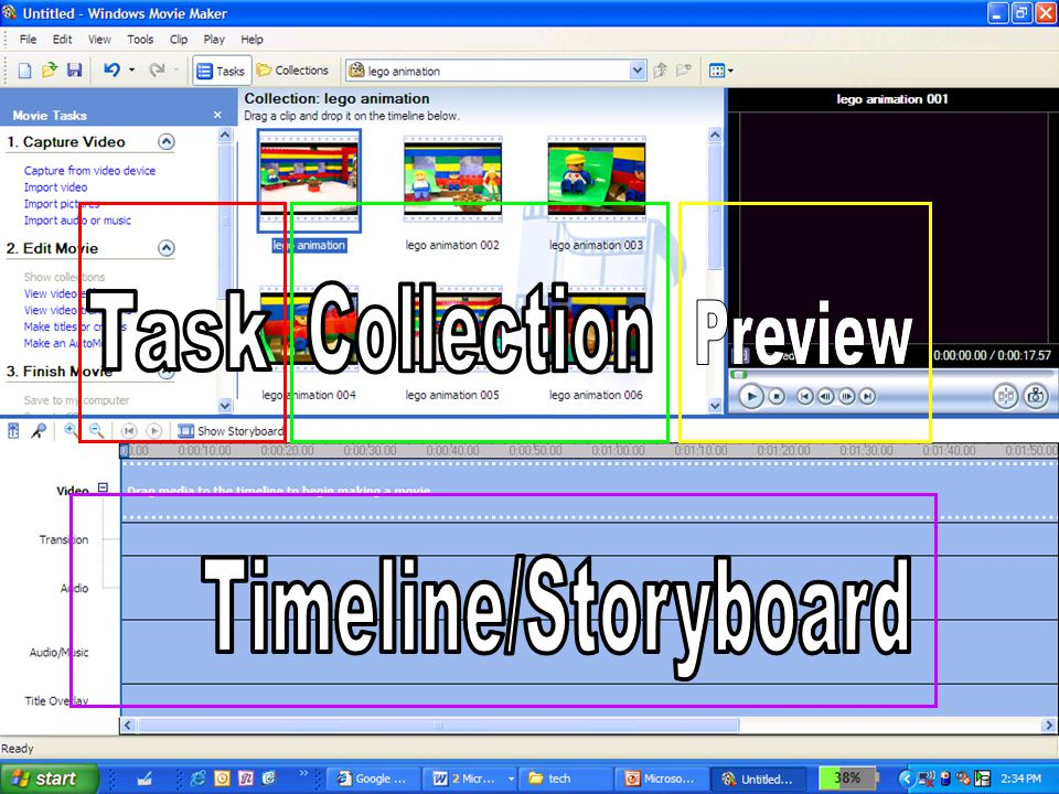The 4 panes of WMM Collection Task Preview Timeline/Storyboard