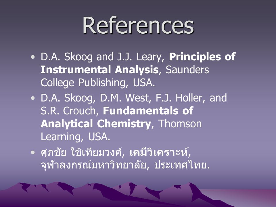 References D.A. Skoog and J.J. Leary, Principles of Instrumental Analysis, Saunders College Publishing, USA.