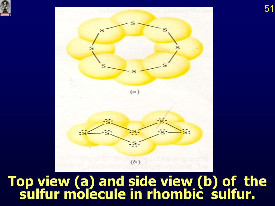 51 Top view (a) and side view (b) of the sulfur molecule in rhombic sulfur.