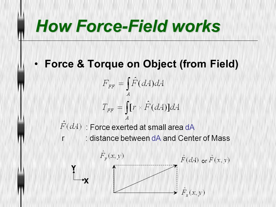 How Force-Field works Force & Torque on Object (from Field)