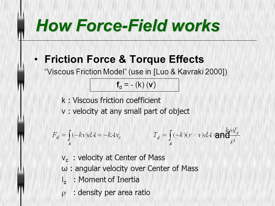 How Force-Field works Friction Force & Torque Effects fd = - (k) (v)