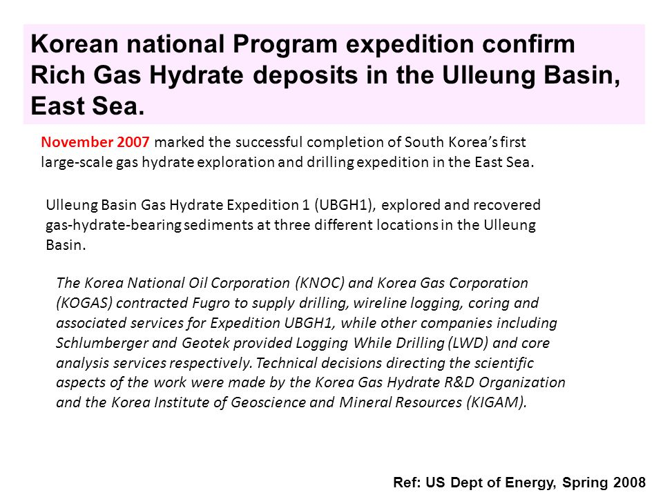 Korean national Program expedition confirm Rich Gas Hydrate deposits in the Ulleung Basin, East Sea.
