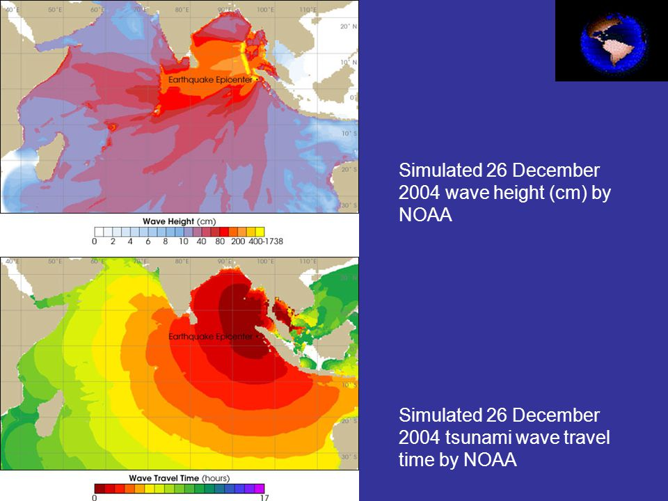 Simulated 26 December 2004 wave height (cm) by NOAA