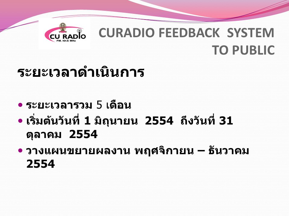 CURADIO FEEDBACK SYSTEM TO PUBLIC