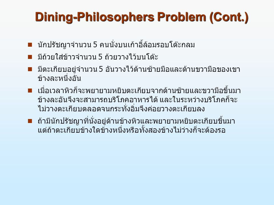 Dining-Philosophers Problem (Cont.)