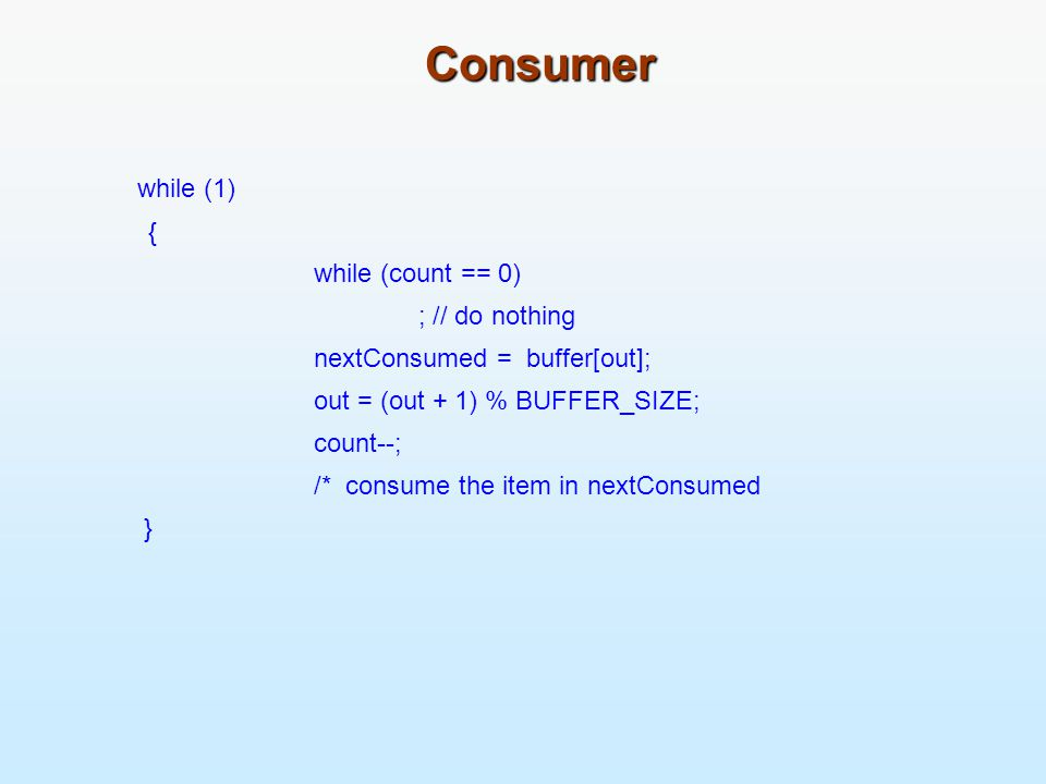 Consumer while (1) { while (count == 0) ; // do nothing