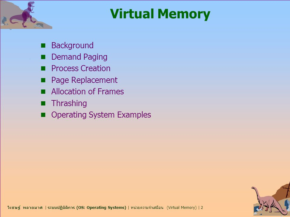 Virtual Memory Background Demand Paging Process Creation