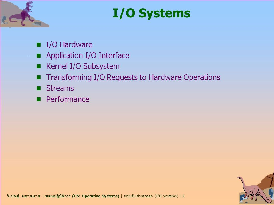 I/O Systems I/O Hardware Application I/O Interface