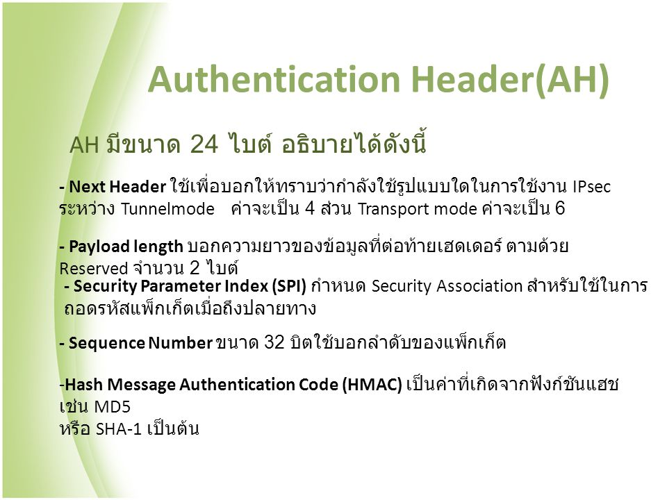 Authentication Header(AH)