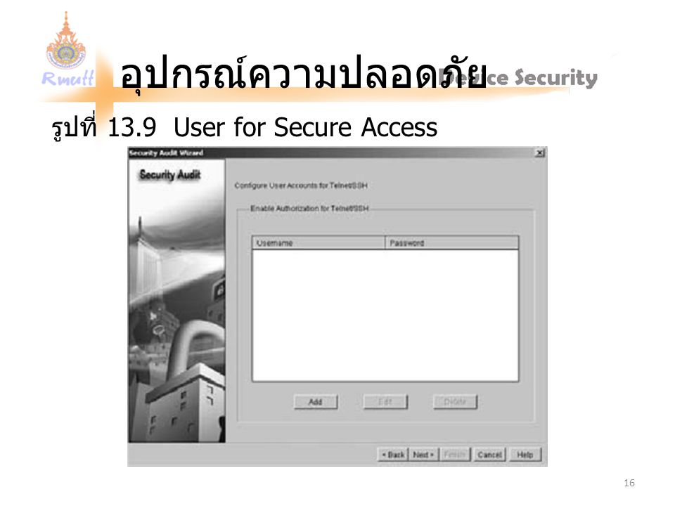 รูปที่ 13.9 User for Secure Access
