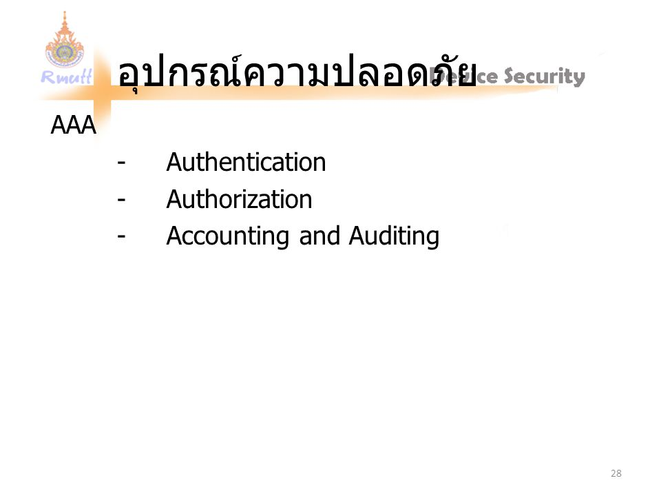 AAA - Authentication - Authorization - Accounting and Auditing
