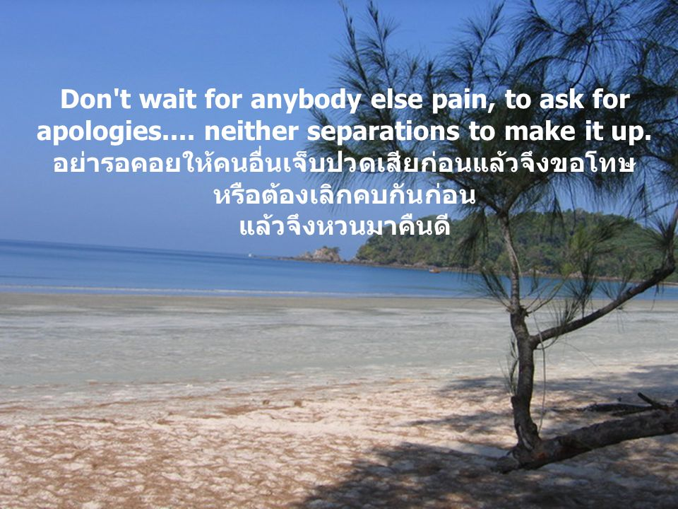 Don t wait for anybody else pain, to ask for apologies