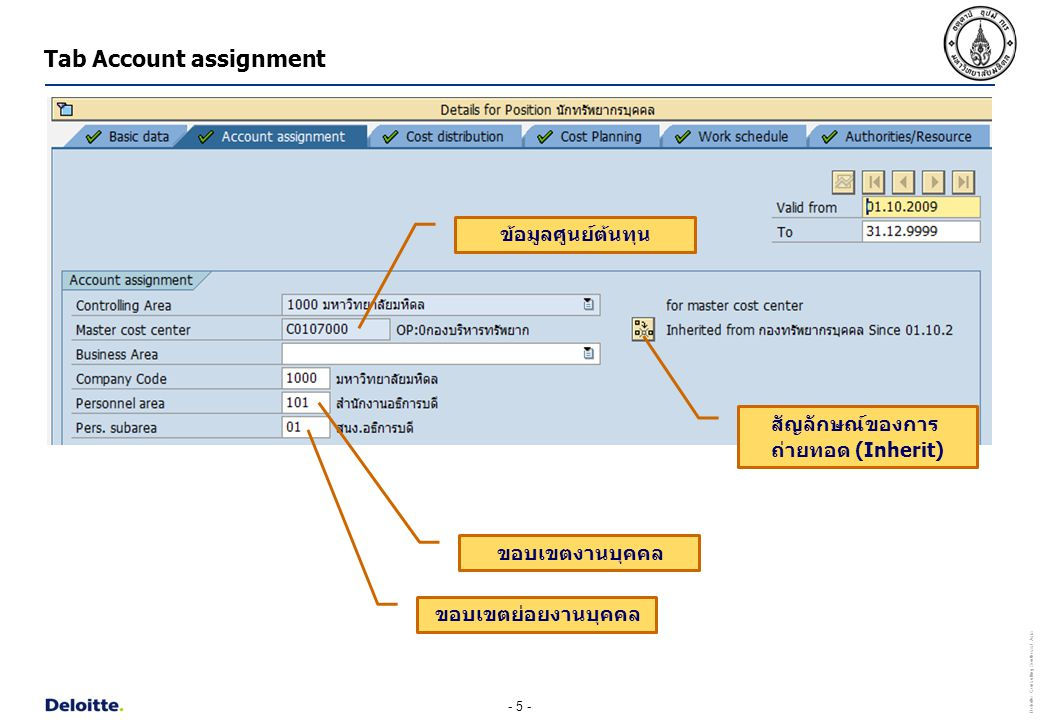 Tab Account assignment