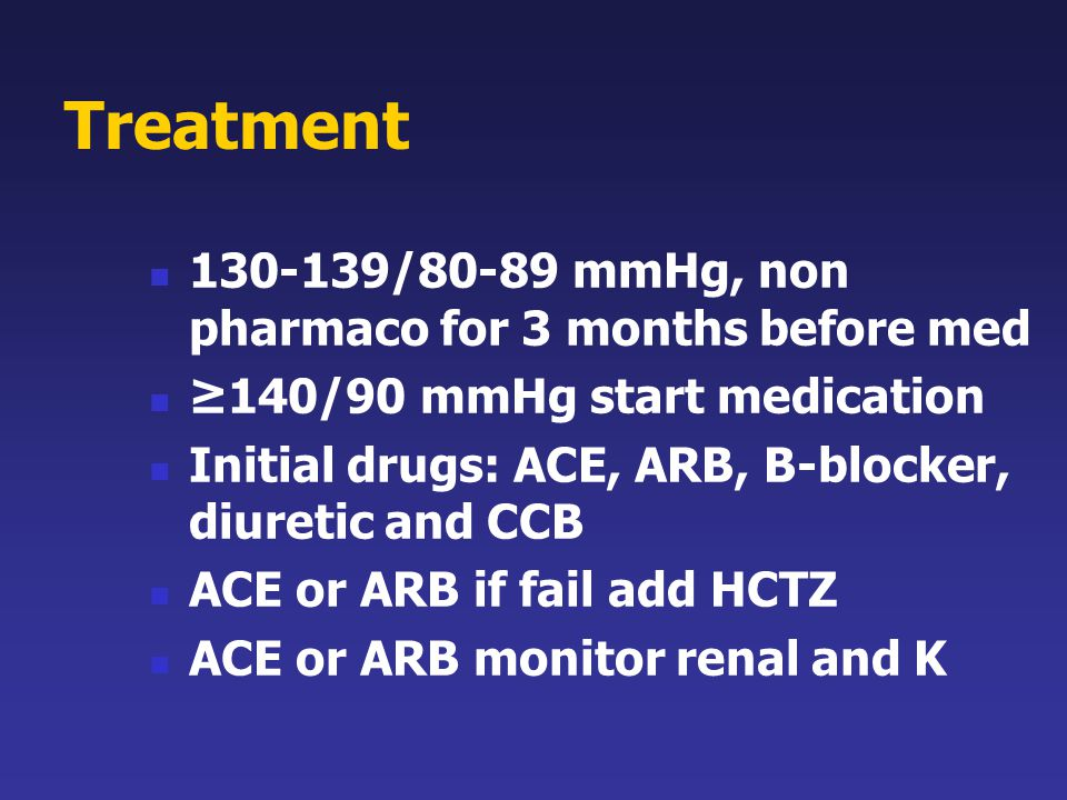 Treatment 130-139/80-89 mmHg, non pharmaco for 3 months before med