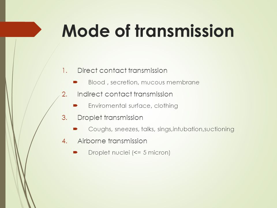 Mode of transmission Direct contact transmission