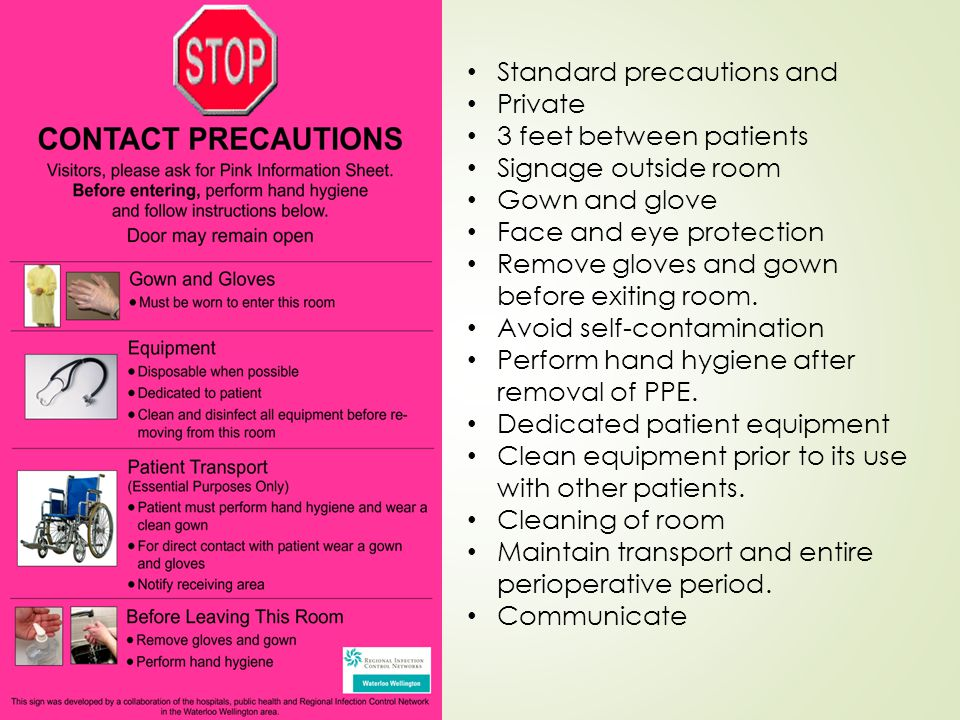 Standard precautions and Private 3 feet between patients