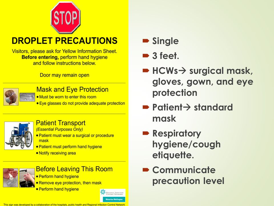 HCWs surgical mask, gloves, gown, and eye protection