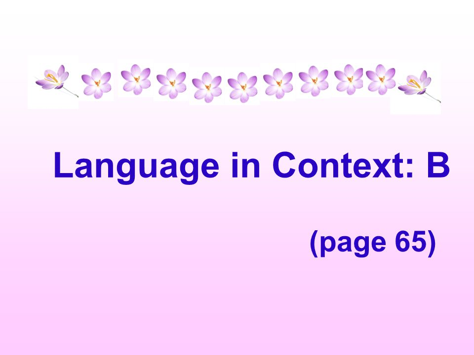 Language in Context: B (page 65)
