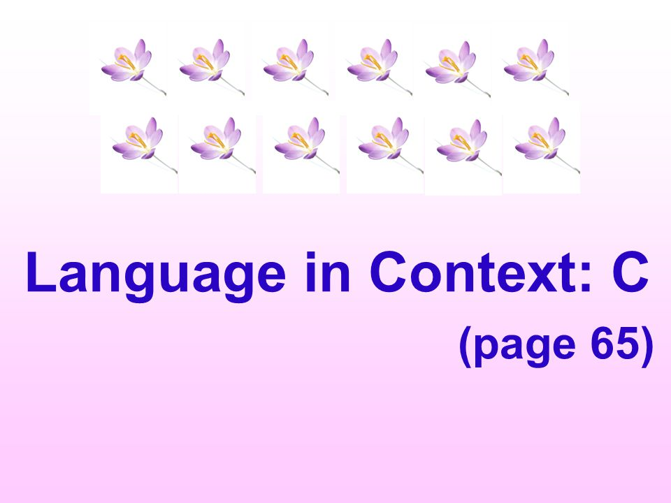 Language in Context: C (page 65)