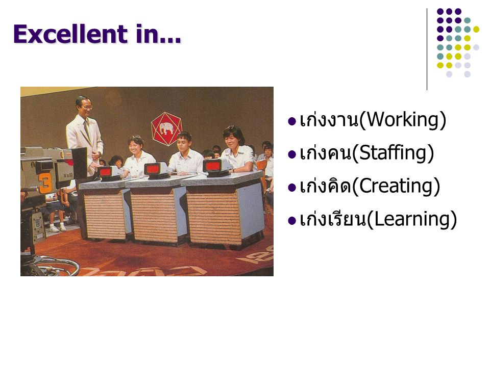 Excellent in... เก่งงาน(Working) เก่งคน(Staffing) เก่งคิด(Creating)