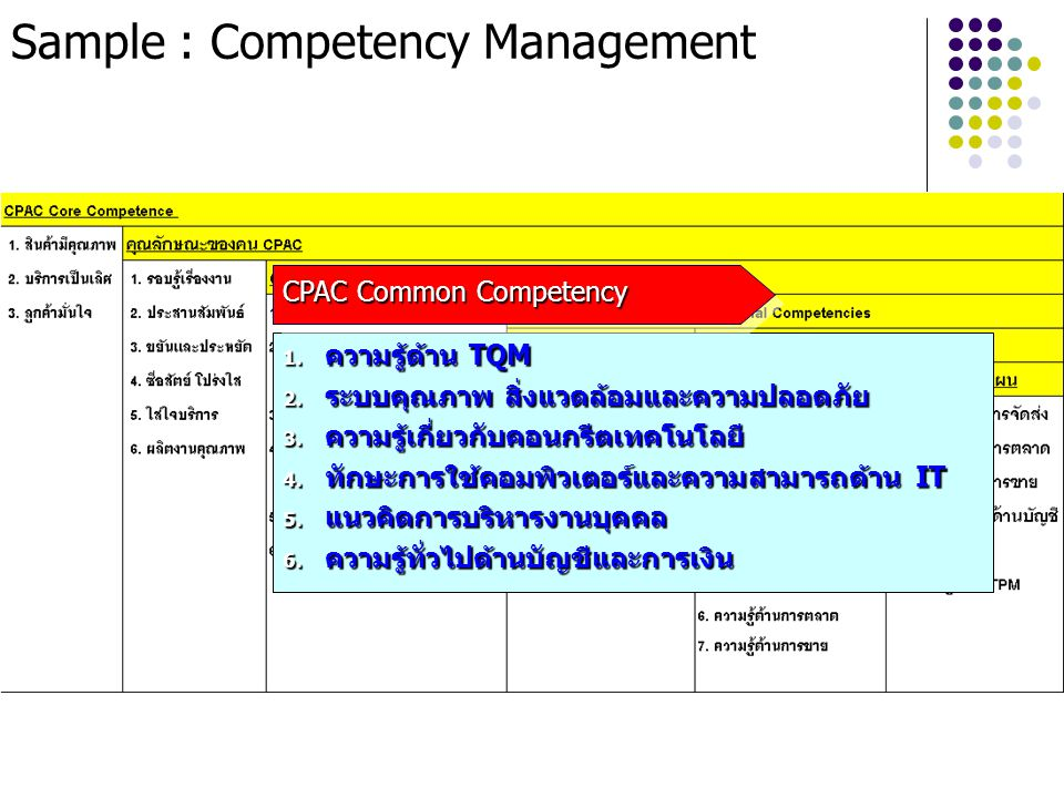Sample : Competency Management