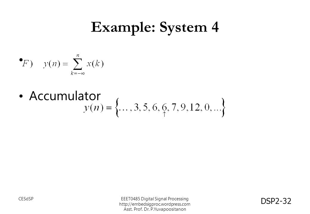 Example: System 4 Accumulator CESdSP