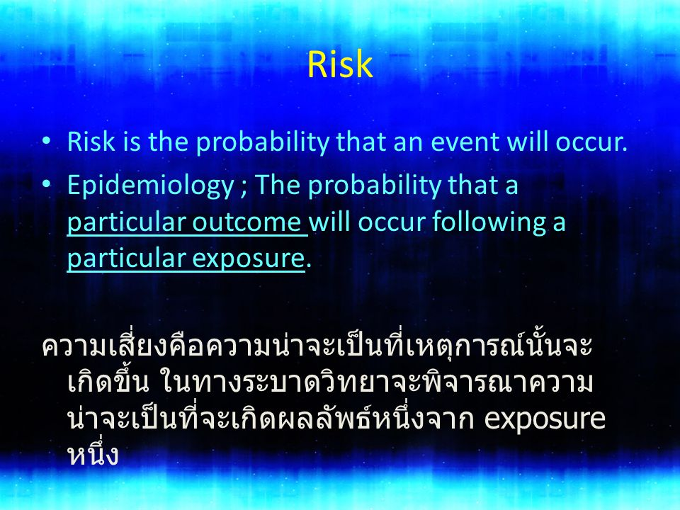Risk Risk is the probability that an event will occur.