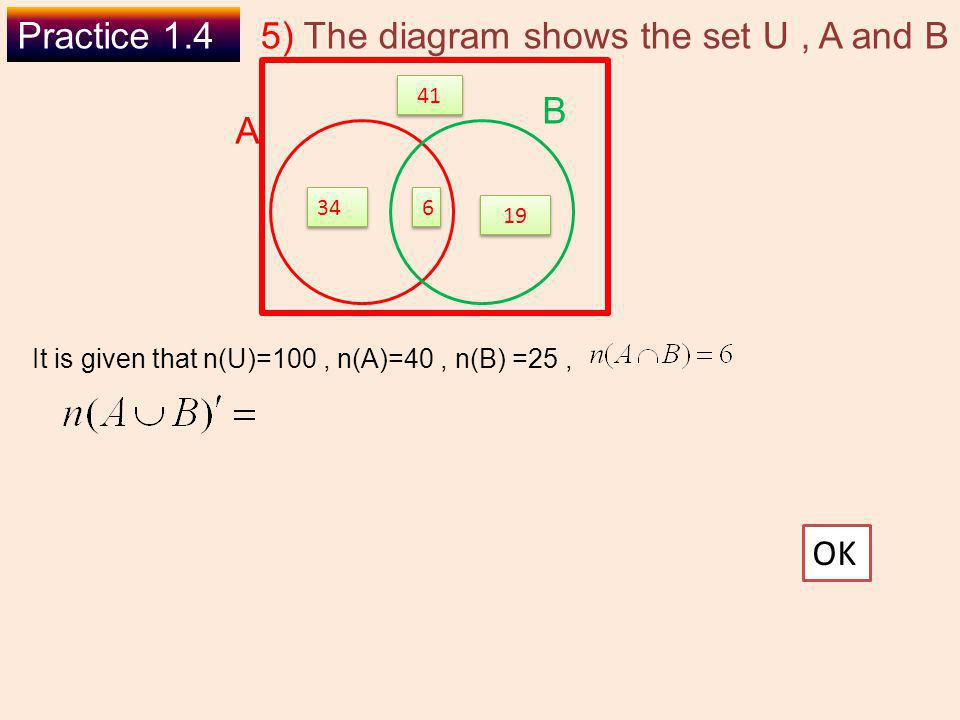 5) The diagram shows the set U , A and B