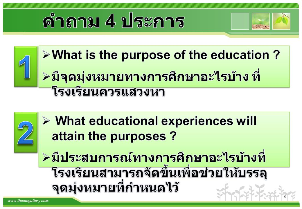 1 2 คำถาม 4 ประการ What is the purpose of the education