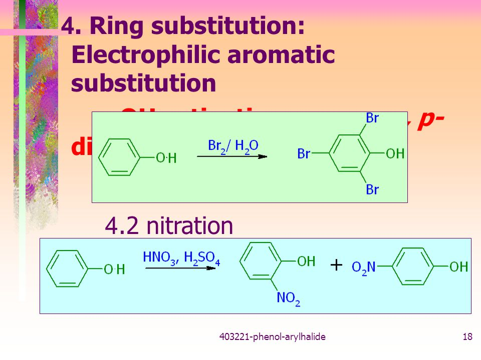 4. Ring substitution: Electrophilic aromatic substitution