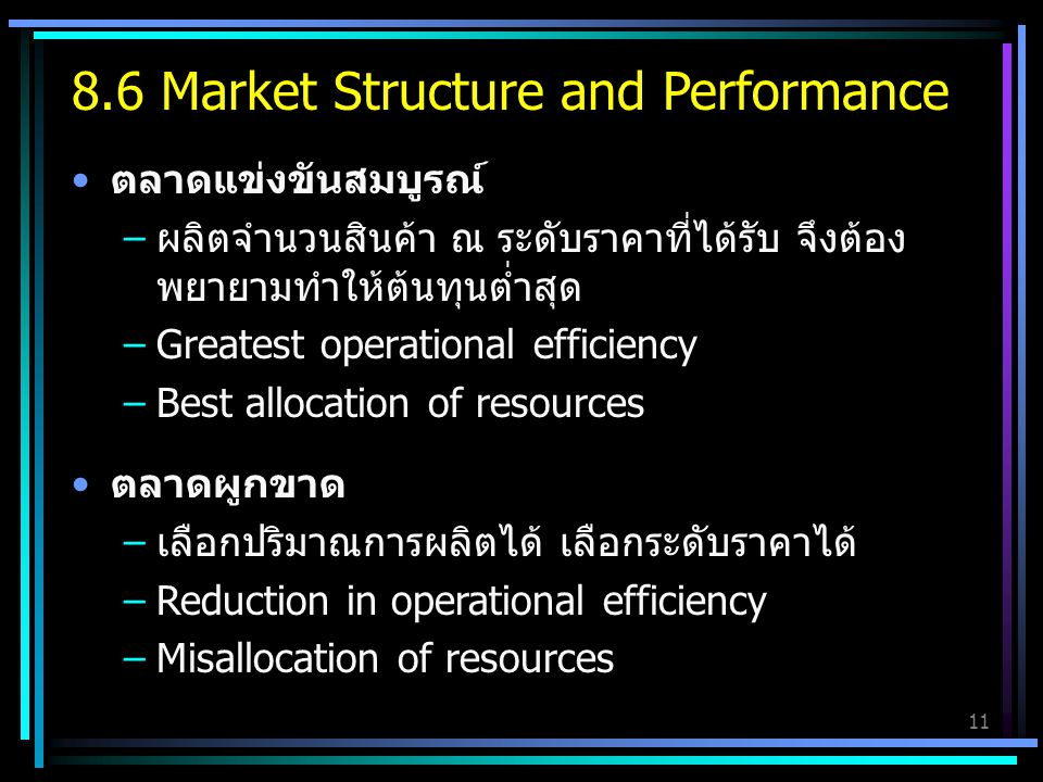 8.6 Market Structure and Performance