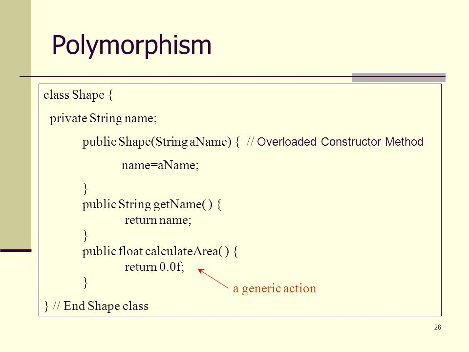 Polymorphism class Shape { private String name;