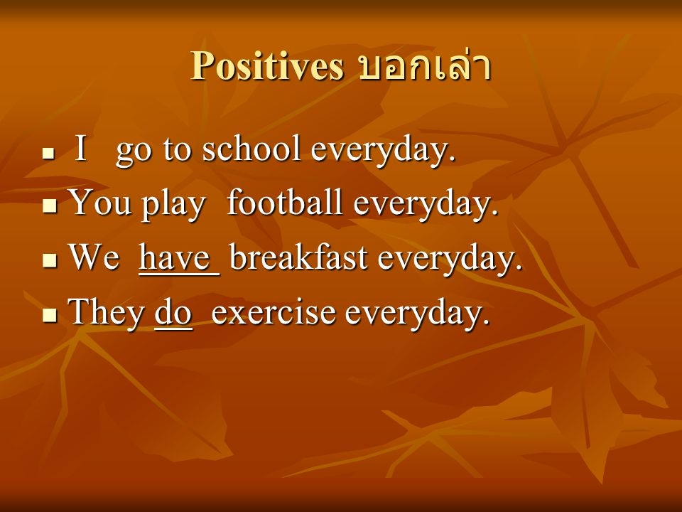 Positives บอกเล่า You play football everyday.
